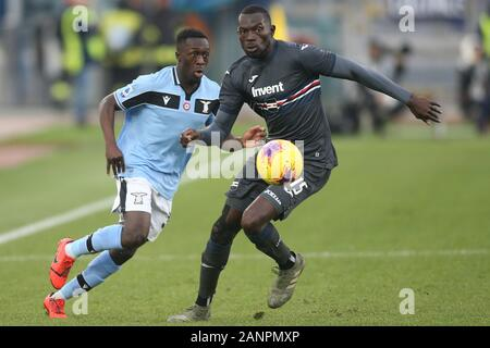 Rome, Italy. 18th Jan, 2020. Rome, Italy - 18 January, 2020: Bobby Adekanye (LAZIO), Omar Colley (Sampdoria) in action during the Italian Serie A soccer match SS Lazio vs Sampdoria 5-1, at Olympic Stadium in Rome on 18/01/2020 Credit: Independent Photo Agency Srl/Alamy Live News Credit: Independent Photo Agency/Alamy Live News - Stock Photo