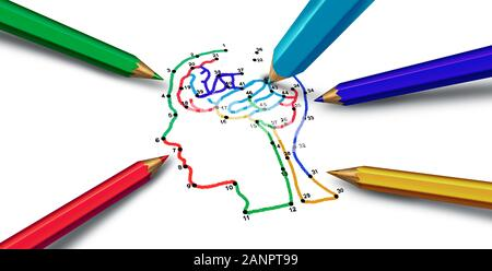 Mental health psychology and psychological disorders medical concept with 3D illustration elements. - Stock Photo