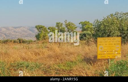 Closed Military Area, Entrance Forbidden sign at the border of Syria and Israel. In the Golan Heights, northern Israel. - Stock Photo