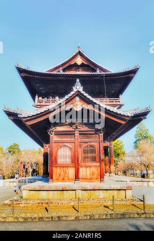 Side view of wooden historic Nanen-ji Buddhism temple San Mon gate with traditional japanese architecture and roof in Kyoto city. - Stock Photo
