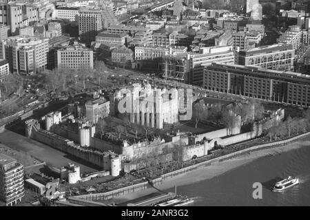 View towards the Tower of London from The Shard, London Bridge, London, UK. - Stock Photo