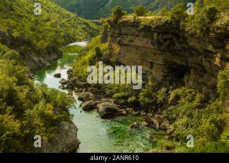 Tara river canyon, mountains and forests around in the Durmitor nature park, Montenegro - Stock Photo