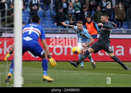 Rome, Italy. 18th Jan, 2020. Nicola Murru (Sampdoria) defends in Manuel Lazzari (Lazio) during the Serie A TIM match between SS Lazio and UC Sampdoria at Stadio Olimpico on January 18, 2020 in Rome, Italy. (Photo by Giuseppe Fama/Pacific Press) Credit: Pacific Press Agency/Alamy Live News - Stock Photo