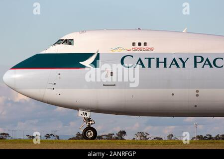Cathay Pacific Cargo Airways Boeing 747-8 Cargo Aircraft B-LJM preparing for takeoff from Melbourne International Airport. - Stock Photo