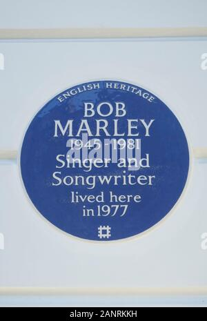 english heritage blue plaque marking a home of singer and songwriter bob marley, chelsea, london, england - Stock Photo