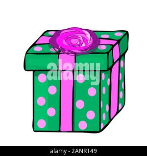 Gift box isolated on white background. Holiday present in cartoon style. Gift box reward icon.Christmas green gift box with red ribbon and dots.Vector - Stock Photo