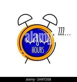 Cartoon alarm clock with inscription eight oclock in flat style, vector illustration of healthy sleep - Stock Photo