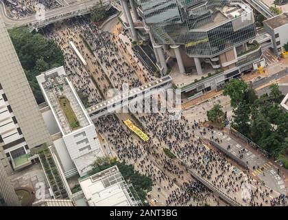 Birds eye footage of the massive New Year's Day (1st January 2020) pro-democracy march organised by the Civil Human Rights Front - Stock Photo