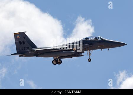 United States Air Force (USAF) McDonnell Douglas F-15E Strike Eagle (91-0328) from the 57th wings based at Nellis Air Force Base. - Stock Photo