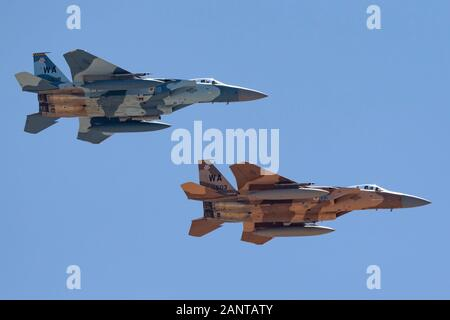United States Air Force (USAF) McDonnell Douglas F-15C Eagles (78-0518 and 78-0503) from to the 65th Aggressor Squadron, 57th Wing based at Nellis Air - Stock Photo