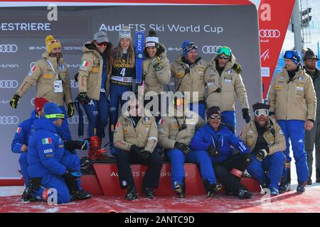 Sestriere, Italy, 19 Jan 2020, team italy during SKY World Cup -  Parallel Giant Slalom Women - Ski - Credit: LPS/Danilo Vigo/Alamy Live News - Stock Photo