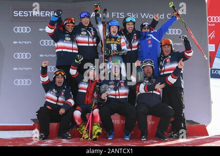 Sestriere, Italy. 19th Jan, 2020. Sestriere, Italy, 19 Jan 2020, team france during SKY World Cup - Parallel Giant Slalom Women - Ski - Credit: LM/Danilo Vigo Credit: Danilo Vigo/LPS/ZUMA Wire/Alamy Live News - Stock Photo