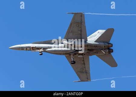 Royal Australian Air Force (RAAF) McDonnell Douglas F/A-18A Hornet multirole fighter aircraft A21-54. - Stock Photo