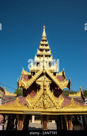 Shwezigon Pagoda in Nyaung-U near Bagan, Mandalay Division, Myanmar, Asia - Stock Photo