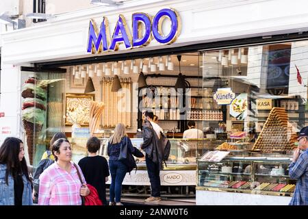 Mado is a trademark of Turkey. He sells ice cream. Maras ice cream is the best ice cream in Turkey. There are many places in Turkey in the shop. - Stock Photo