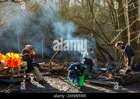 Harefield, UK. 19th Jan, 2020. Conservationists, climate protesters and environmentalists defy the High Court Injunction and stay on site in an attempt to stop the HS2 route and the loss of ancient woodland. Penelope Barritt/Alamy Live News - Stock Photo