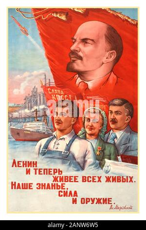 Vintage 1960's Soviet propaganda poster: 'Lenin, now more than alive, Our Knowledge, Strength and Weapons'. Image showing a factory worker, a woman and office worker standing in front of a red flag with Lenin's portrait on it, while a large ship and factories are depicting in the background with a rocket launching across the sky. Country: Russia, year of printing: 1960, designer: Zaslavsky, - Stock Photo