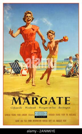 MARGATE Vintage UK 1950's travel poster for seaside town of Margate in Kent on the South East coast of England featuring illustration of a happy mother and son leaping with joy on the sandy beach Southern British Railways logo below promoting trains from London & Midlands to : Margate, Cliftonville, Westbrook, Westgate-on-Sea, Birchington UK - Stock Photo