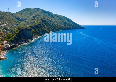 Aerial drone view on Adriatic sea beach, Camogli, liguria. - Stock Photo