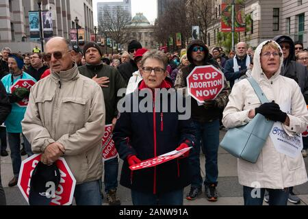 Raleigh, NC, USA. 18th Jan, 2020. Hundreds of people gathered on Bicentennial Plaza outside the North Carolina General Assembly Saturday for the annual Rally & March for Life. Credit: Mehmet Demirci/ZUMA Wire/Alamy Live News - Stock Photo