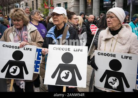 Raleigh, North Carolina, USA. 18th Jan, 2020. Hundreds of people gathered on Bicentennial Plaza outside the North Carolina General Assembly Saturday for the annual Rally & March for Life. Credit: Mehmet Demirci/ZUMA Wire/Alamy Live News - Stock Photo