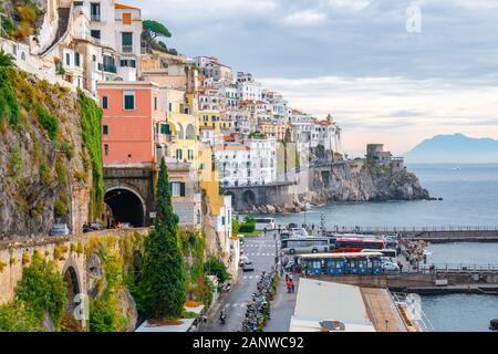 Amalfi, Italy - 01.11.2019: Amalfi cityscape on coast of mediterranean sea