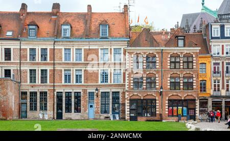 LILLE, FRANCE - APRIL 15, 2017: Medieval houses at the Louise de Bettignies square, part of Vieux-Lille, a neighbourhood in the Lille historic city ce - Stock Photo