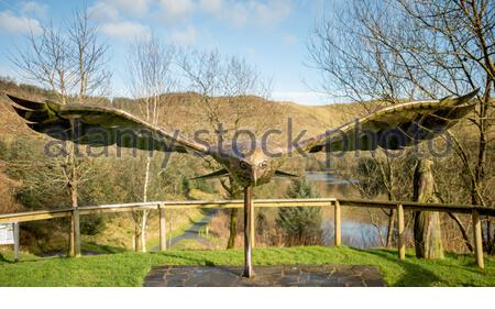 Red kite sculpture at the Bwlch Nant yr Arian visitor centre, near Aberystwyth, Ceredigion, Wales, UK - Stock Photo