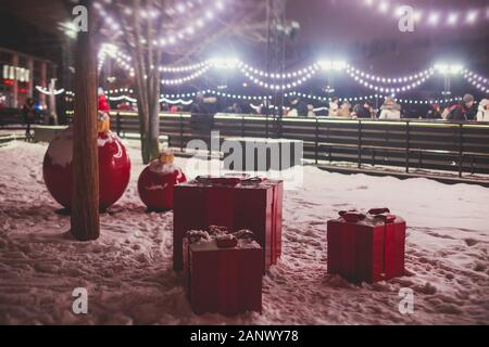 Saint-Petersburg streets with New Year decoration, Christmas illumination on Nevsky Prospect, Russia