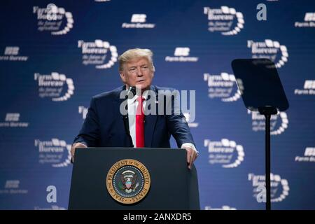 United States President Donald J. Trump speaks before 5,000 attendees at the annual American Farm Bureau Federation convention in Austin, Texas, USA. Stock Photo