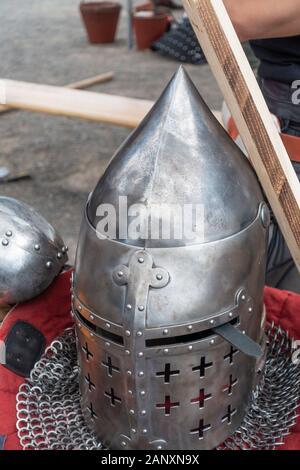 Medieval Metal Helmet at Medieval Combat Sport Tournament in Hämeenlinna Finland - Stock Photo