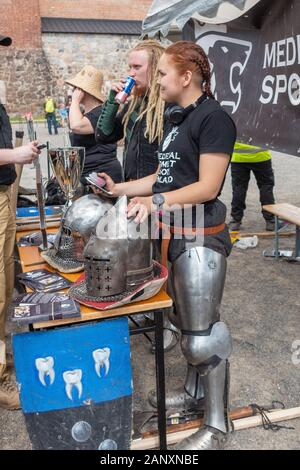 Medieval Combat Sport Tournament in Hämeenlinna Finland - Stock Photo