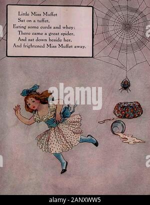 Little Miss Muffet sat on a tuffet, eating her curds and whey. There came a great spider and sat down beside her and frightened Miss Muffet away - Vintage illustration of a Nursery Rhyme - Stock Photo