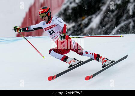 Alta Badia, Italy 22 December 2019.  RASCHNER Dominik  (Aut) competing in the Audi Fis Alpine Skiing World Cup Men's Giant Slalom on the Gran Risa Cou - Stock Photo