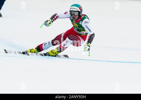 Val Gardena, Italy 20 December 2019. KRIECHMAYR Vincent during the pre race inspection of the Saslong course for the Audi FIS Alpine Ski World Cup Men - Stock Photo
