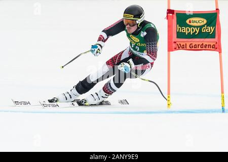 Val Gardena, Italy 20 December 2019. Forerunners in the Audi Fis Alpine Skiing World Cup Men's Super-G Race  on the Saslong Course in the dolomite mou - Stock Photo