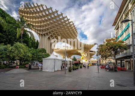 Seville, Spain - Sevilla Mushrooms - sculptural wooden structure with an archaeological museum, rooftop walkway & viewpoint - Stock Photo