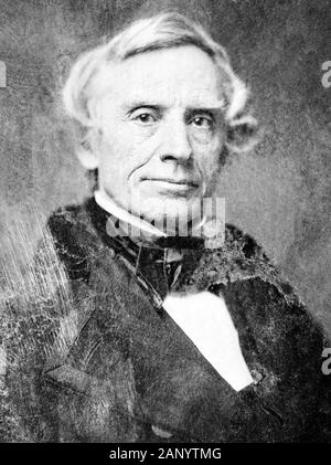 Vintage portrait photo of American painter and inventor Samuel F B Morse (1791 – 1872) – a pioneer in the development of the electric telegraph and co-creator of Morse Code. Photo circa 1850 by Mathew B Brady. - Stock Photo