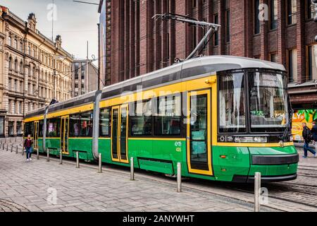 20 September 2018: Helsinki, Finland - Tram stopped in the central city. - Stock Photo