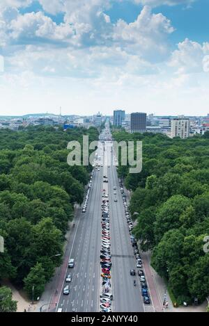 BERLIN, GERMANY - MAY 25, 2018: An aerial view of the Tiergarten park in Berlin, Germany, with the skyline of the Charlottenburg district in the backg - Stock Photo