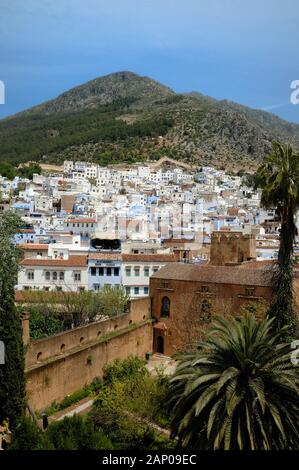 View over the Old Town or Medina in Chefchaouen or Chaouen Morocco - Stock Photo