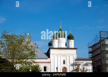 Ancient Russian Orthodox Churches. The green-painted domes. - Stock Photo