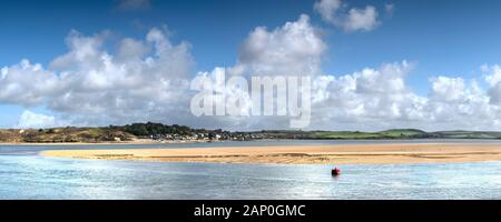 A panoramic view of the River Camel on the North Cornwall coast. - Stock Photo