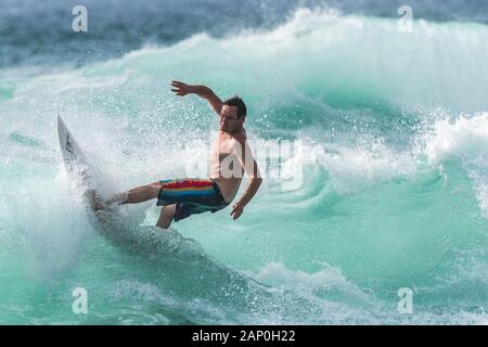 Spectacular surfing action at Fistral in Newquay in Cornwall. - Stock Photo