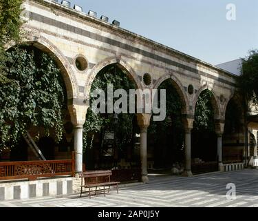 Syria Arab Republic. Damascus. Azm Palace. Ottoman Empire era. It was built in 1749. Residence for As'ad Pasha al-Azm, governor of Damascus. The northern facade of the courtyard. Currently Museum of Arts and Popular Traditions.