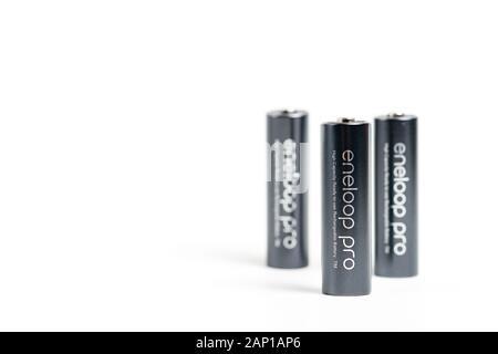 Makati city of Manila, Philippines - Jan 21, 2020: Panasonic eneloop pro battery on white background - Stock Photo