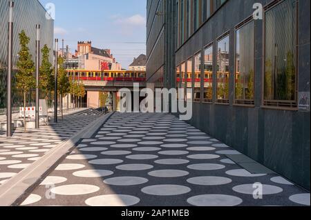 Futurium museum adjacent lane with train passing by. Berlin stock travel photographs. - Stock Photo
