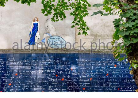 Dalida painted above Le Mur des Je t'Aime - the 'I Love You' wall, Square Jehan Rictus, Place des Abbesses, Montmartre, Paris, France - Stock Photo