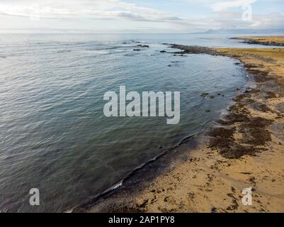 Drone photo from the coast of Iceland beautiful - Stock Photo