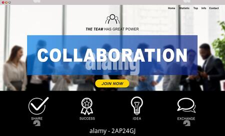 Collaboration website page over business team meeting - Stock Photo